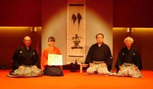 Shihan-Zeremonie am 9.9.2010 in Tokyo Andreas Fuyû Gutzwiller, Ursula Fuyûmi Schmidiger, Kawase Junsuke III, Saitô Shûsuke